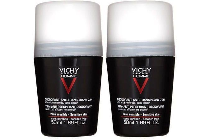 Vichy Dezodorant roll-on pre citlivú pokožku Homme 72H (Deodorant Anti-Transpirant) 2 x 50 ml