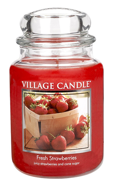 Village Candle Vonná svíčka ve skle Čerstvé jahody (Fresh Strawberries) 645 g
