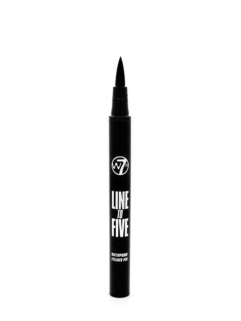 W7 Cosmetics Vodeodolná očná linka Line To Five odtieň Black (Waterproof Eyeliner Pen) 0,8 ml
