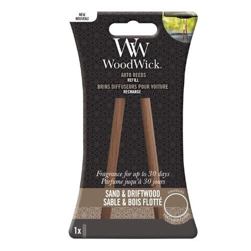WoodWick Náhradné vonné tyčinky do auta Sand & Dritwood (Auto Reeds Refill)