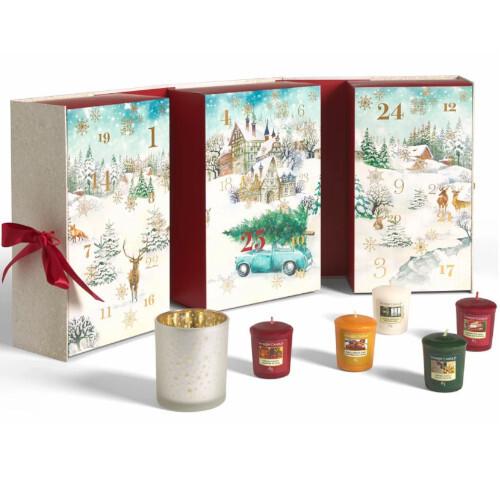 Yankee Candle Adventný kalendár kniha 12 ks votívnych sviečok, 12 ks čajových sviečok + 1 svietnik