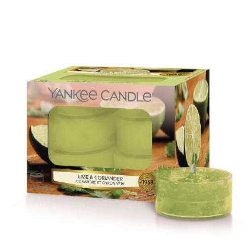 Yankee Candle Aromatické čajové svíčky Lime & Coriander 12 x 9,8 g