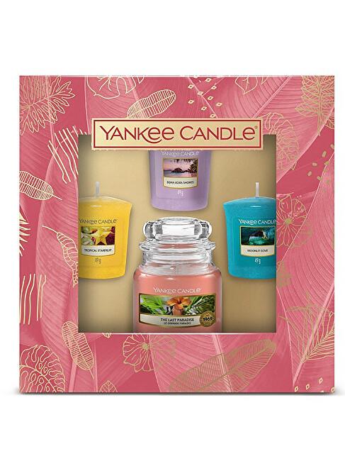 Yankee Candle Darčeková sada 3 votívnych sviečok a 1 sviečky malé The Last Paradise
