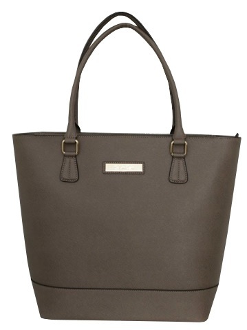 Calvin Klein Elegantní kožená business kabelka Large Leather Shopper Dark Taupe H3JB11YW