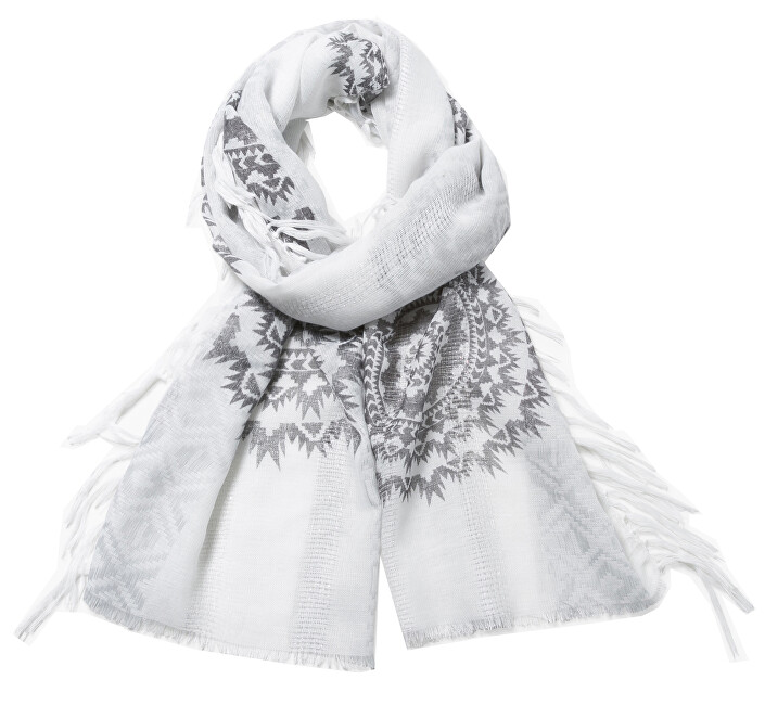 Desigual Šátek Foulard Rectangle White Silve 73W9GF6 1000