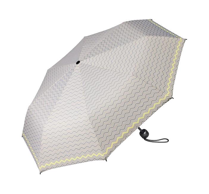 Esprit Dámský skládací deštník Mini Basic printed 50753 šedý se žlutým okrajem