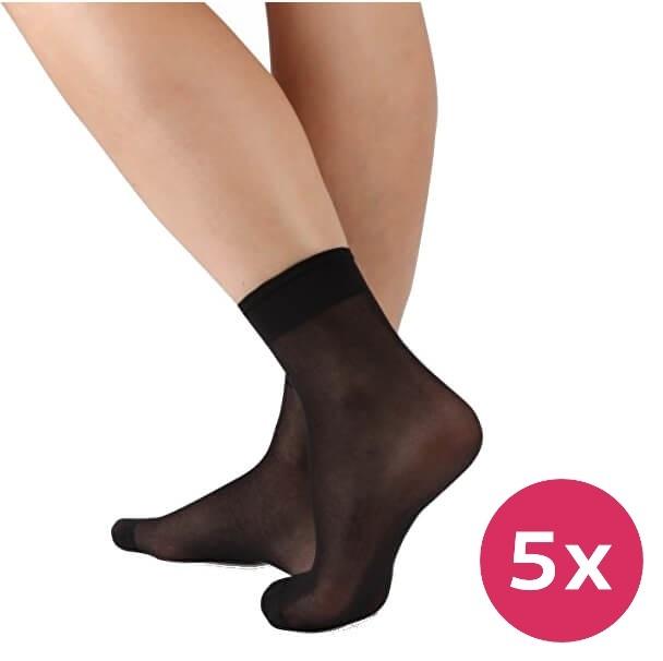 Evona 5 PACK - dámské ponožky Napolo 999 černé 25-27