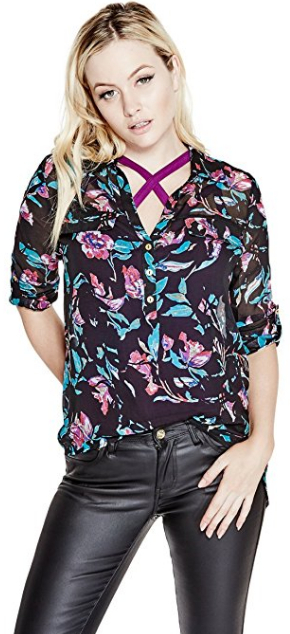 Guess Dámska blúzka G by GUESS Women`s Alastrina Oversized Blouse Purple Pill Multi L