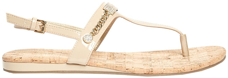 Guess Dámské sandále Factory Women`s Jyll T-Strap Sandals Light Natural Leather 38,5