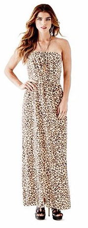 Guess Dámské šaty Leopard - Print Pleated Maxi Dress L