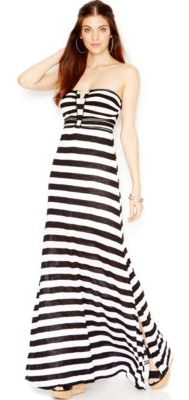 Guess Dámské šaty Strapless Applique Maxi Dress Stripes L