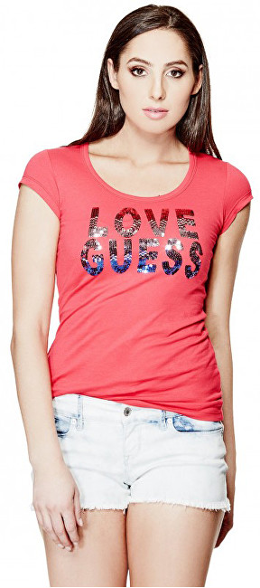 Guess Dámský top Kaida Sequin Tee Red M