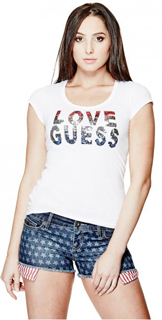 Guess Dámský top Kaida Sequin Tee M