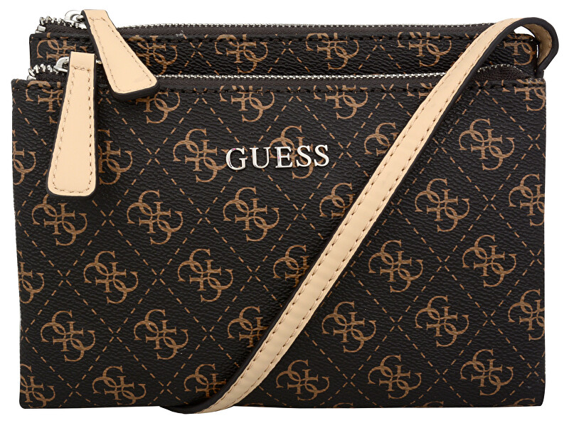 Guess Elegantní crossbody kabelka Delaney Logo Petite Mini Cross-Body Brown