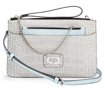 Guess Elegantní crossbody kabelka Escapade Python-Embossed Cross-Body Cement