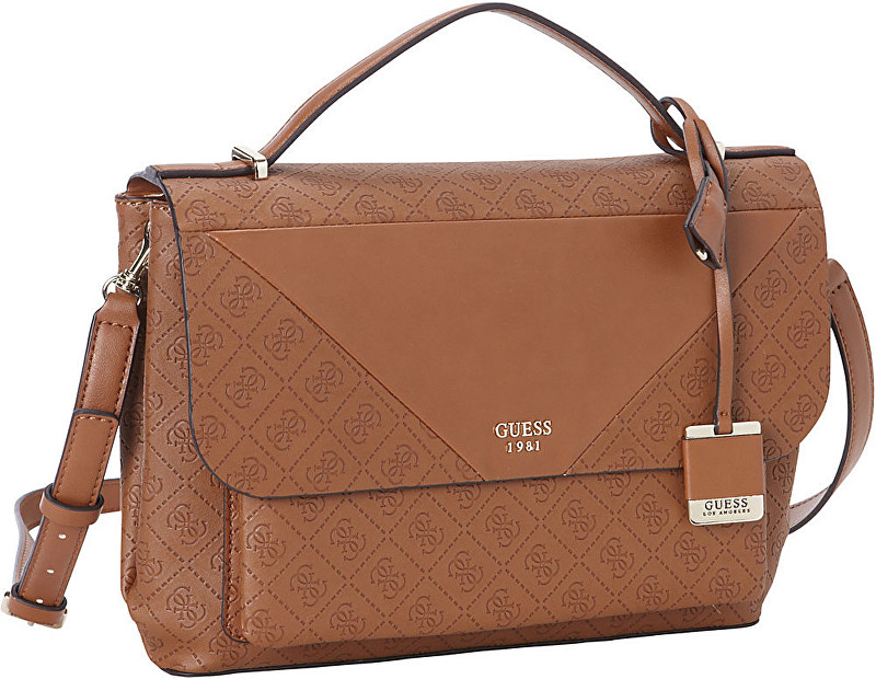 Guess Elegantní dámská kabelka GUESS Cammie Top Handle Flap Crossbody brown