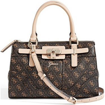 Guess Elegantní kabelka Greyson Logo Small Satchel Brown