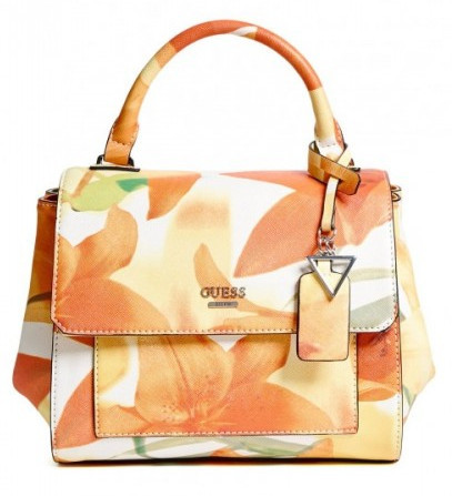 Guess Elegantní kabelka Take A Dive Floral Satchel Orange Multi