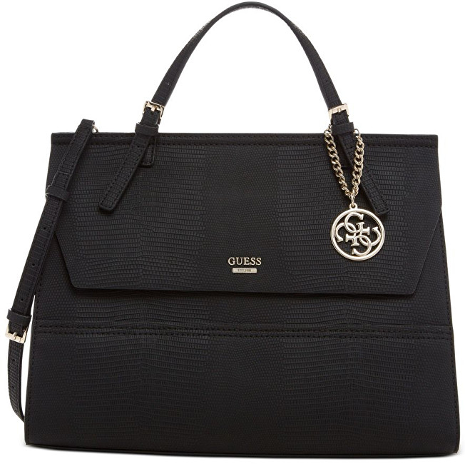 Guess Elegantní kabelka Top Handle Flap Front Satchel Black