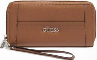 Guess Elegantní peněženka Delaney Zip-Around Brown