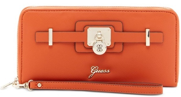 Guess Elegantní peněženka Greyson Large Zip-Around Wallet cognac