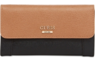 Guess Elegantní peněženka Huntley Slim Clutch Wallet Brown/black