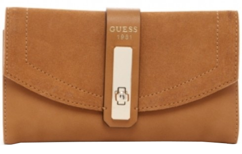 Guess Elegantní peněženka Kingsley Slim Clutch Wallet brown