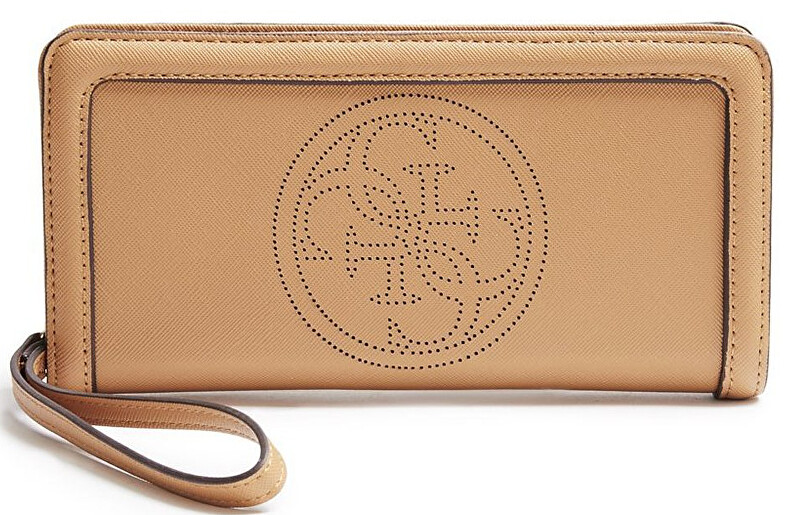 Guess Elegantní peněženka Quattro G Perforated Zip Around Camel