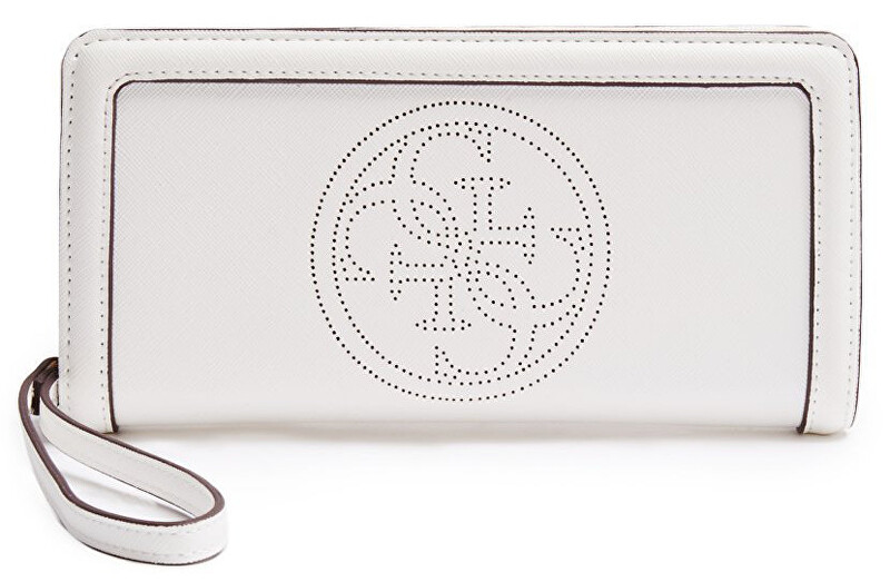Guess Elegantní peněženka Quattro G Perforated Zip Around White