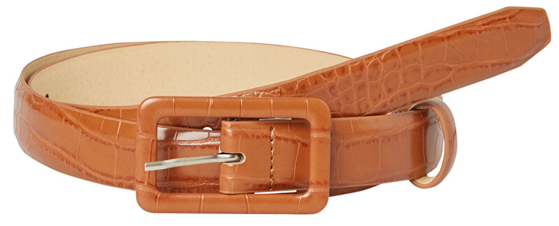 Pieces Dámsky opasok PCHEATHER JEANS BELT Cognac 80 cm