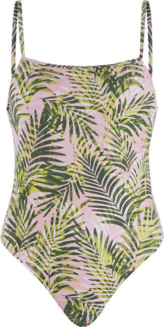 Pieces Jednodielne plavky PCNIA Swimsuit SWW Candy Pink LEAF PRINT M