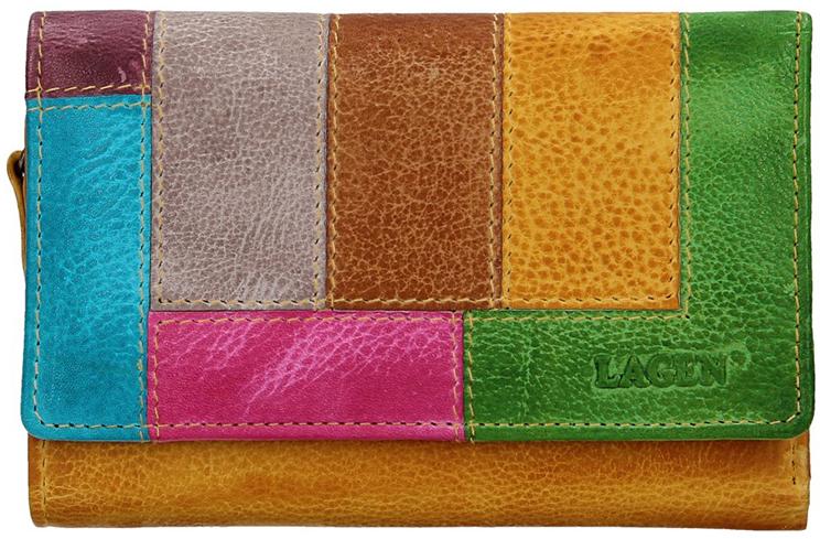 Lagen Dámska kožená peňaženka LG-11/D Yellow/Multi