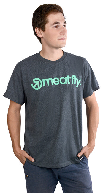 Meatfly Triko Logo T-shirt F - Dark Heather