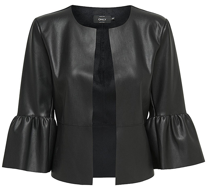Sacou Dance Frill Faux Leather Jacket Otw Black