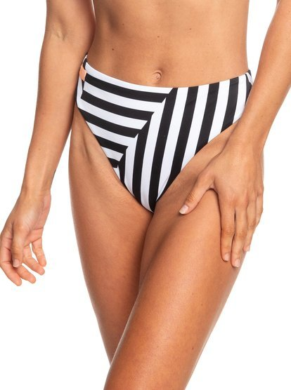 Roxy Plavkové nohavičky Pop Surf Reg High Leg Bottom True Black Victoria Stripes Sw ERJX403710-XKKW L