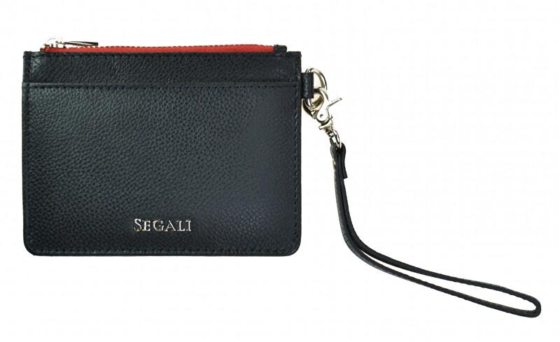 SEGALI Kožená mini peňaženka-kľúčenka 7290 A Black