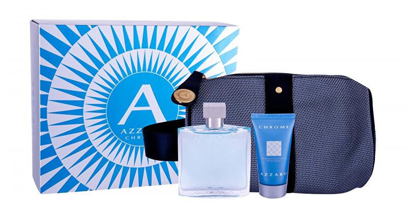 Azzaro Chrome - EDT 100 ml + sprchový gel 50 ml + kosmetická taštička