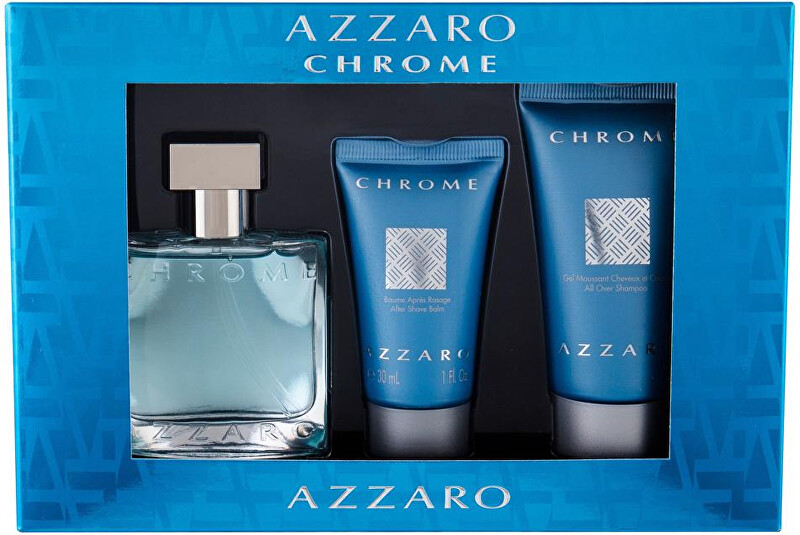 Azzaro Chrome - EDT 30 ml + balzám po holení 30 ml + sprchový gel 50 ml