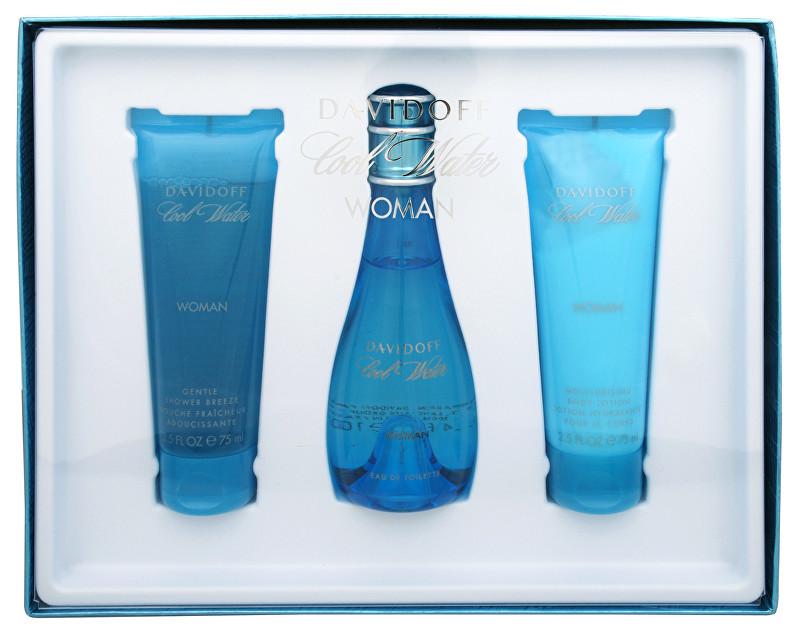 Davidoff Cool Water Woman - EDT 100 ml + telové mlieko 75 ml + sprchový gél 75 ml