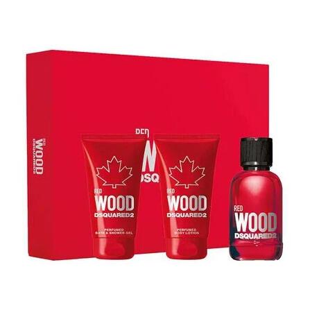 Dsquared² Red Wood - EDT 50 ml + sprchový gél 50 ml + telové mlieko 50 ml