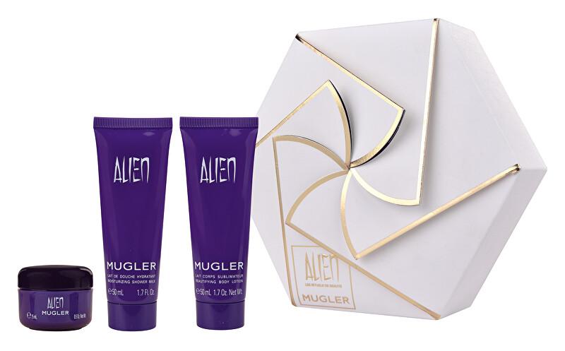 Thierry Mugler Alien - tělové mléko 50 ml + sprchové mléko 50 ml + tělový krém 15 ml