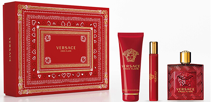 Versace Eros Flame - EDP 100 ml + sprchový gel 150 ml + EDP 10 ml