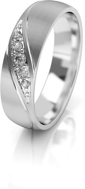 Levně Art Diamond Dámský snubní prsten z bílého zlata se zirkony AUG284 52 mm