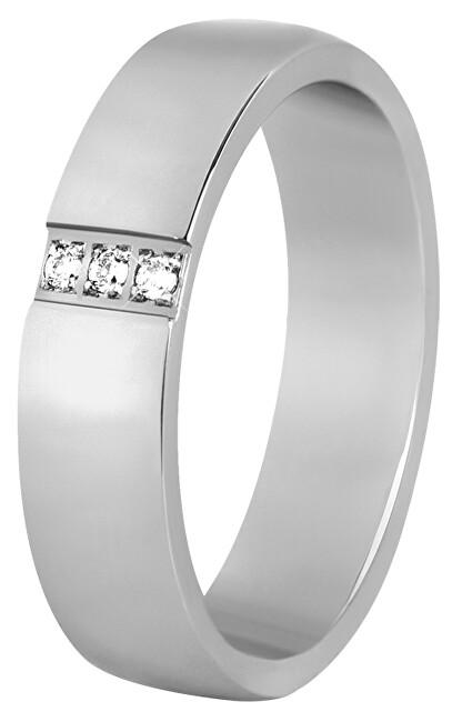 Levně Beneto Dámský prsten z oceli s krystaly SPD01 59 mm
