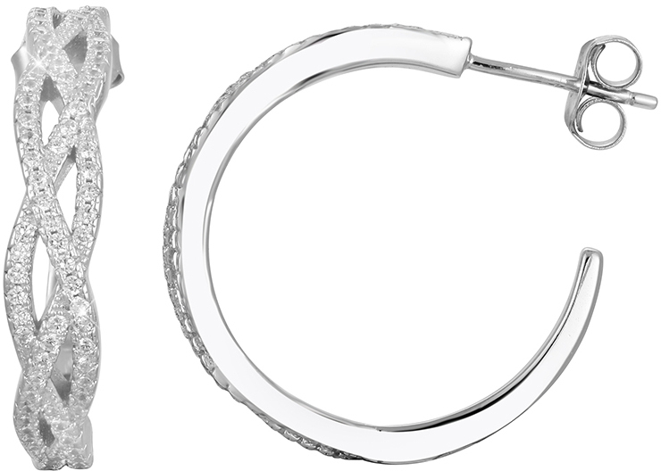 Beneto Luxusné strieborné náušnice kruhy s kryštálmi AGUP1173