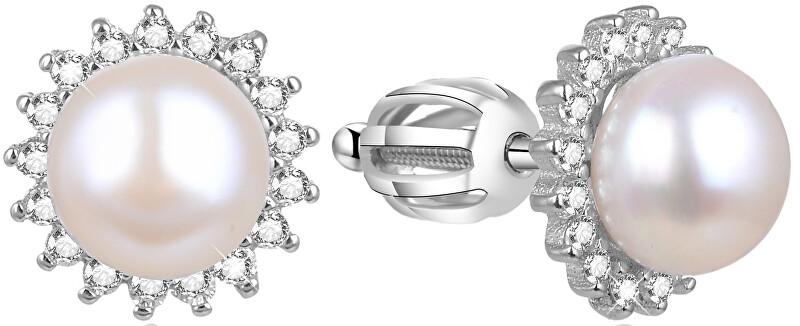Beneto Strieborné náušnice s pravou perlou AGUP1656PS