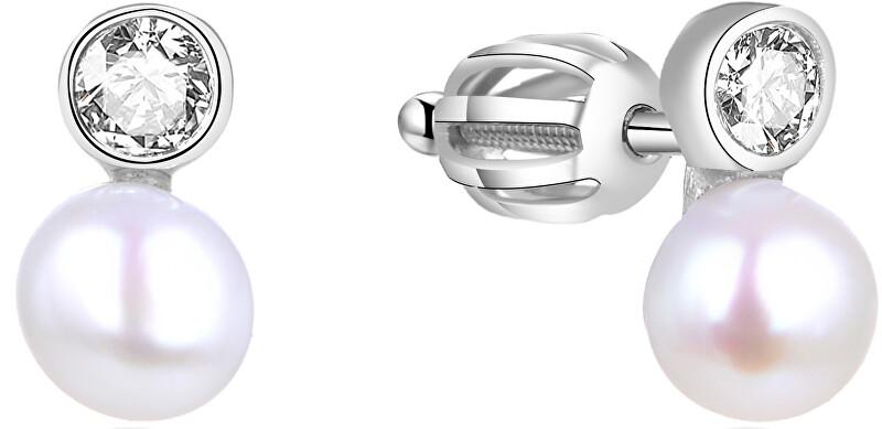 Beneto Strieborné náušnice s pravou perlou AGUP1658PS