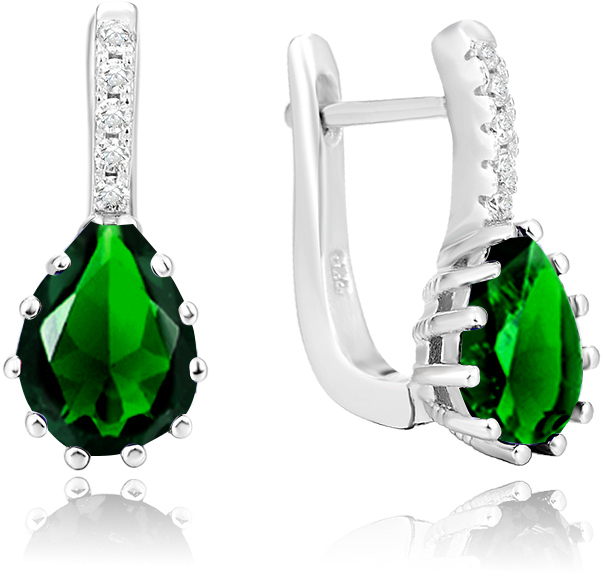 Beneto Stříbrné náušnice se zeleným krystalem AGU1198