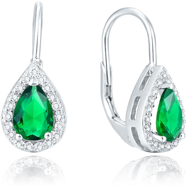 Beneto Stříbrné náušnice se zeleným krystalem AGUC1161