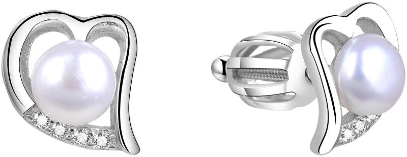 Beneto Strieborné srdiečkové náušnice s pravou perlou AGUP1412PS